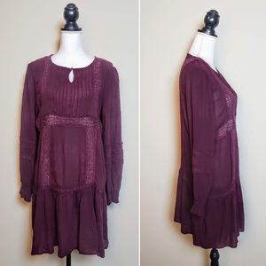 SKYLAR + JADE Peasant Dress, Plum Purple Boho, XL